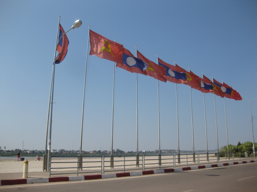 Flags on the Mekong River, Vientiane, Laos